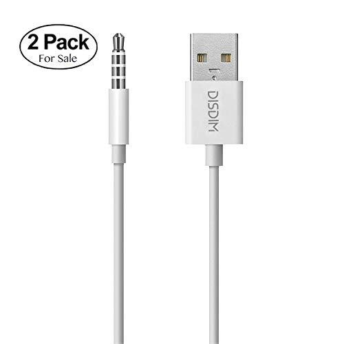 iPod Shuffle Cable, DISDIM 2 Pack 3.5mm Jack/Plug to USB Charger Sync Data Transfer Charging Cable for Apple iPod Shuffle 3rd / 4th / 5th / 6th / 7th Generation