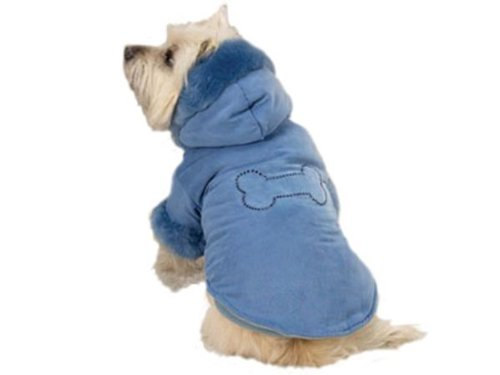 Dog Coat Faux Suede (Zack & Zoey Blue Bone Studded Powder Puff Faux Suede Dog Coat Jacket X-Small)