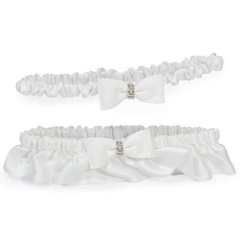 (Cathy's Concepts Silk Wedding Garter with Rhinestones, White )