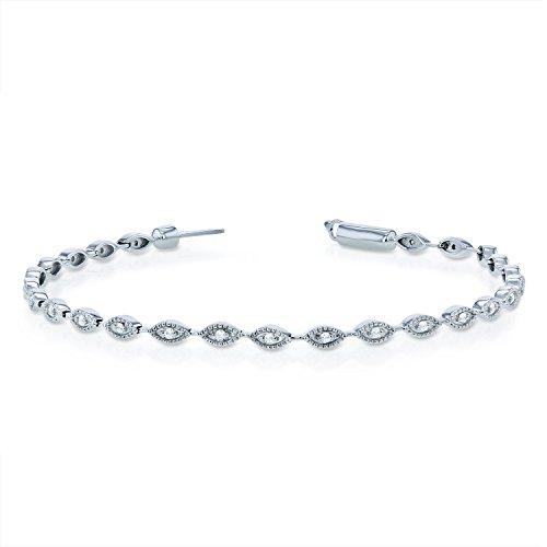 (Diamond Bracelet 1/4ct TDW in 10k White Gold - 7)