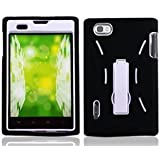 Black White Double Layer Kickstand Hard Hybrid Gel Case Cover For LG Intuition / Optimus Vu VS950