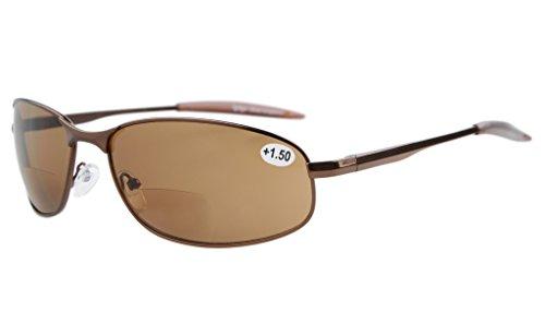 (Eyekepper Metal Frame Fishing Golf Cycling Flying Outdoor Bifocal Sunglasses Brown +2.5)