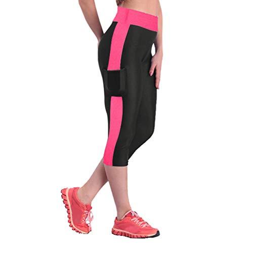 Capri Yoga Asana - PAQOZ Women's Yoga High Waist Workout Capris Side Pockets Running Tummy Control Sports Leggings Trouser Pants (Hot Pink, XL)