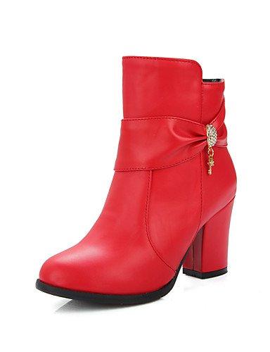 XZZ  Damen-Stiefel-Kleid-Kunstleder-Blockabsatz-Modische Stiefel-Schwarz     Rosa   Rot fd8e31
