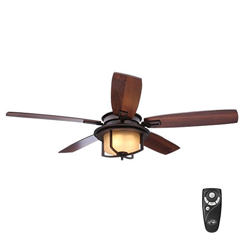 (Devereaux II 52 in. Indoor Oil-Rubbed Bronze Ceiling Fan with Light Kit and Remote Control)