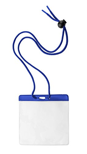100 Pack of Horizontal Extra Large Badge Holders (4 1/2 X 3 1/2 Insert) with Blue Adjustable Neck Cord Lanyard and Color Bar by Specialist ID (The Brand With The Three Stripes Lanyard)
