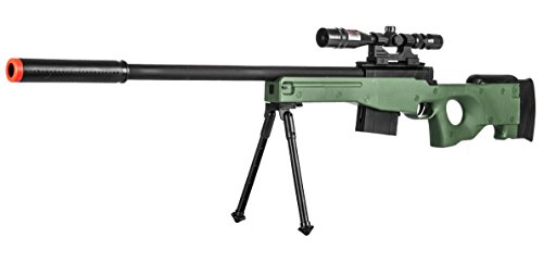 300 FPS – Airsoft Sniper Spring Rifle Gun with Scope and Laser (Green)