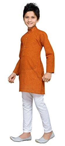 Arancione Del Festa Kurta Di Pigiama Di Partito Etnico Ruggine Usura Eid Abito Bambini Pantalone Vestito Stile Cotone dIPOWw