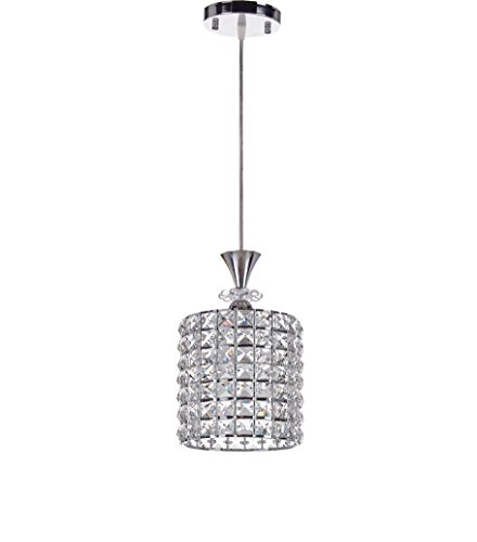 Diamond Life Chrome Finish 1-light Round Metal Shade Crystal Chandelier Hanging Pendant Ceiling Lamp Fixture, #B854 (Mini Caps Pendant Chrome)