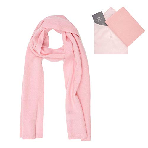 Cara Cashmere Cashmere Scarf for Women - 100% Pure Luxury Knit - Lightweight, Ultra Soft, Warm with Beautiful Silk Keepsake Gift Bag, Pink, Medium