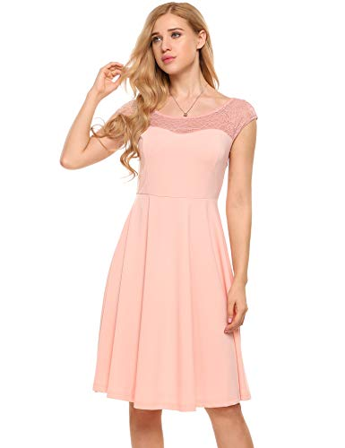 Zeagoo Womens A-Line Cap Sleeveless Pleated Little Cocktail Party Dress Lace dress,Pink,Small