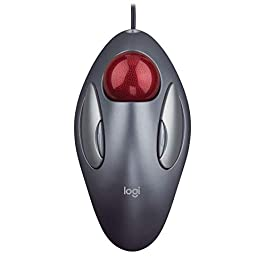 Logitech Trackman Marble Trackball Mouse – Wired USB Ergonomic Mouse for Computers, with 4 Programmable Buttons, Dark Gray
