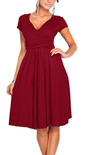 Wine Waist Short Cocktail and Red Neck Ruched Flare Sleeve Dress Empire Fit Afibi V 7qF1wCF