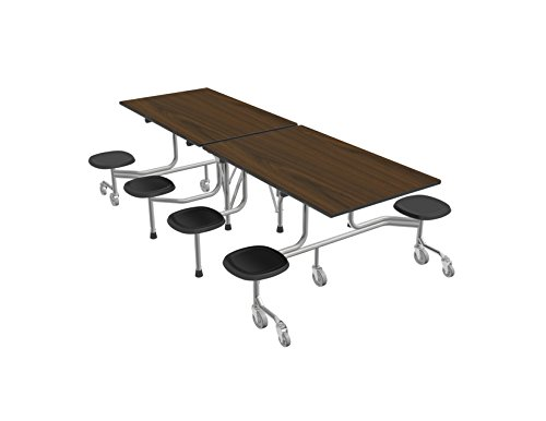 60T Easy Folding Mobile Table, 29x30x96, 8 Stools, Walnut/Silver, Cafeteria, School Breakroom Table (Table Cafeteria Stool)