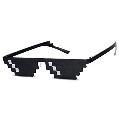 Original Thug Life Black Pixelated Original 6-Bit Novelty Small and Narrow Dark Sunglasses (Black Frame)