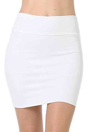 Fashion Aktiv Basic Double-Layer Cotton Simple Stretchy Tube Pencil Mini Skirt (Large, Ivory)