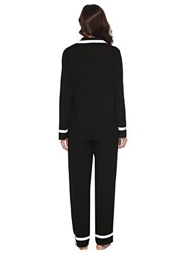 Satin Femmes Aibrou Noir Toutes Nuit Pyjama Ensemble Saisons Manche Les Longue De En Vêtements B F1FwIAxqd