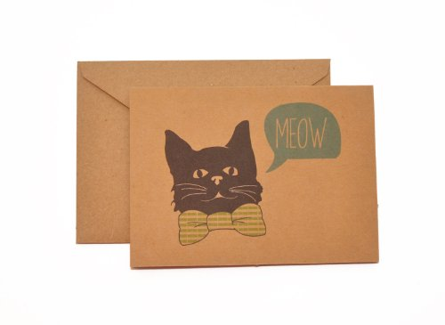 Stitched Bowtie Cat Stationery Note Card Set