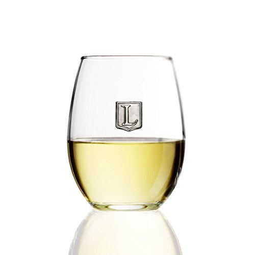 Fine Occasion Personalized Stemless Wine Glass with Letter Crest (L, 15 oz) (Wine Letters)