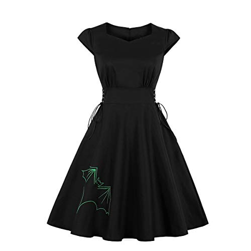 Wellwits Women's Green Bat Embroidery Lace up Gothic Halloween Vintage Dress L