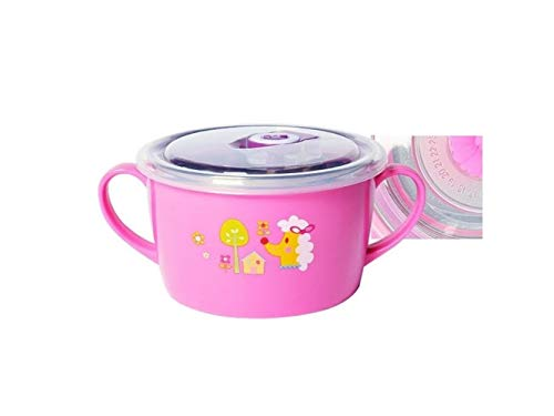 Yuchoi Contemporary Animal Pattern Baby Feeding Bowl Anti-Scald Stainless Steel Children Dish Insulation Bowl with Lid and Double Handles for Kids Students(Pink) by Yuchoi