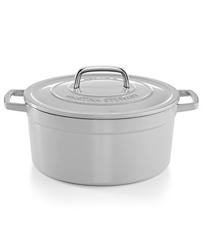 Collectors Enamled Cast Iron 6 QT. Casserole Cookware | Exceptional Quality Cast Iron For Browning | Braising | Stewing | Casseroles & Much More | By Martha Stewart (Oyster)