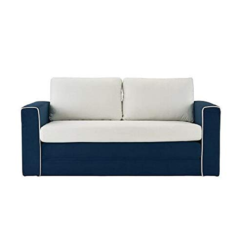 Superbe Intriguing 2 Tone Convertible Sleeper Sofa Couch Modular Navy/Beige Pullout  Twin