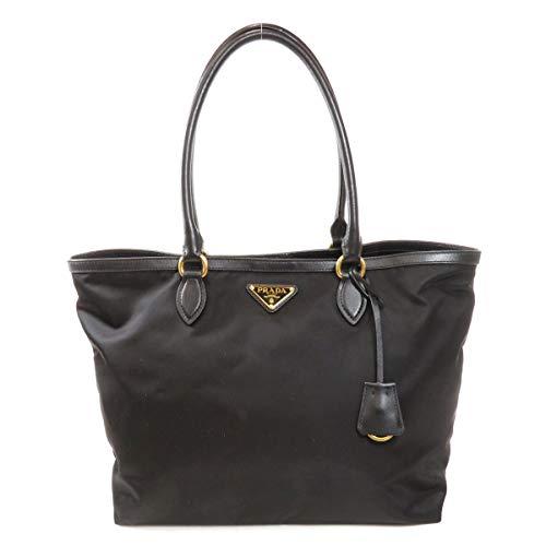 Prada Black Tesutto Nylon w Calf Leather Trim Shopping Tote Handbag 1BG158 (Prada Style Tote)