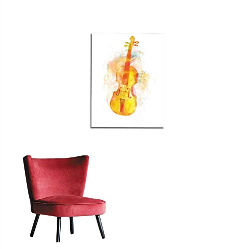 longbuyer Photo Wall Paper Vintage Violin with Faded Watercolor Texture and copyspace Mural ()