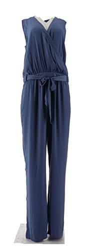 Halston V-Neck Charmeuse Slvless Jumpsuit Light Indigo 14 New A274563