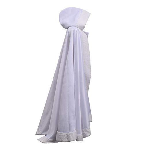 GRACEART Capa con Capucha Mujer Invierno Pelo Largo Poncho para Vestido de Novia Boda Fiesta Navidad Princesa Costume (Blanco)