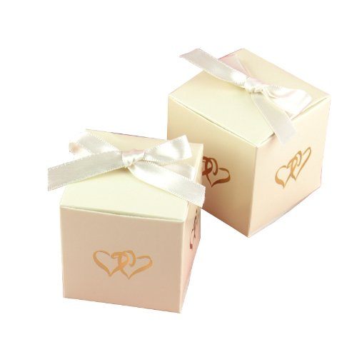 Hortense B. Hewitt Wedding Accessories Favor Boxes, Linked at The Heart, 25 Count, Ivory