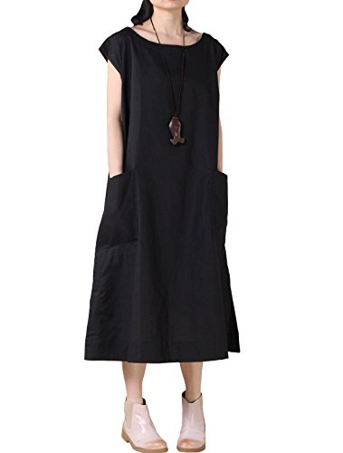 Mordenmiss Women's Summer Cap Sleeve Shift Dress with Pockets M-Black ()