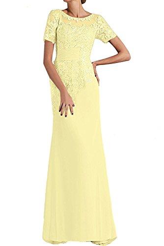 Abendkleider Braut Partykleider mia Brautmutterkleider Blau Hell Gelb Spitze La Kleider Etuikleider Kurzarm Trumpet UXqnOg
