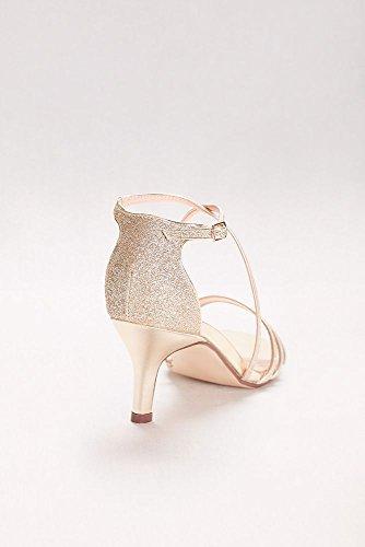 Davids Bridal Isla Délicate Mince Sangle Métallique Sandales À Talons Bas Style P1604 Or