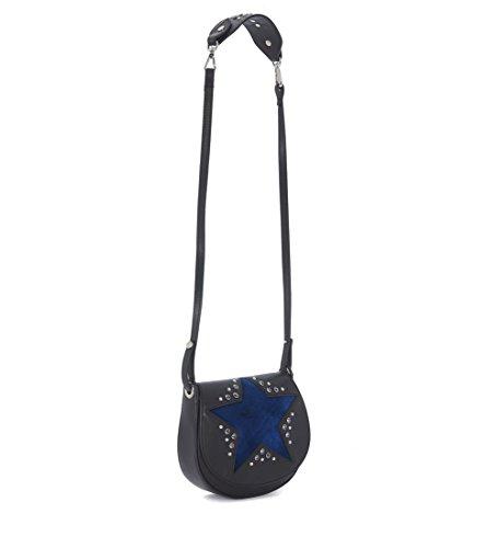 Borsa a tracolla Orciani in pelle martellata nera con stella in velluto blu