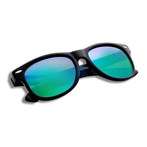 YAMAZI Kids Polarized Sunglasses Sports Fashion For Boys And Girls Mirrored Lens (Black | Green lens, Gray) (Kids Sunglasses Mirror)