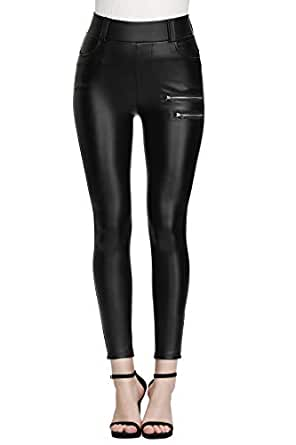 "MCEDAR Women's Faux Leather Leggings Plus Size Girls High Waisted Sexy Skinny Pants (2X Fit Waist 36""-39""/ Hips 44""-47"", Black with Zipper)"