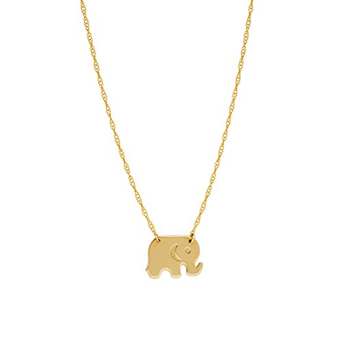 Ritastephens 14k Gold Mini Elephant Pendant Necklace 18 Inches ()