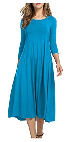 3 Color Sleeves Elegant Dress Women's Midi Blue AU Loose Sodossny 4 Sky Pleated A Line Solid wYqxR4HEF