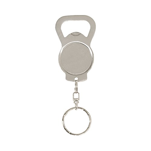 Thirsty Rhino Koin, Stainless Steel Vintage Bottle Opener Keychain Key Ring, Brushed Silver (Set of ()