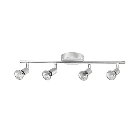 Globe Electric 58932 Payton 4-Light Track Lighting, Matte Silver - MINIMALIST DESIGN: the straight line of the track bar pairs with the exposed socket construction and is finished off with a matte silver to complete the perfect minimalist design PIVOTING TRACK HEADS/VERSATILE PLACEMENT: four independently pivoting track heads direct and focus light where needed and can also be used to mount on the wall as a vanity or wall track light BULB REQUIREMENTS: 4x GU10/Bi-Pin Base MR16 Shape 50W Bulbs (sold separately) - kitchen-dining-room-decor, kitchen-dining-room, chandeliers-lighting - 31FomLRByfL. SS570  -
