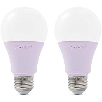 SORAA Radiant 2-Pack A19 LED Dimmable 800-Lumen Soft White (2700K), 60-Watt Equivalent Light Bulb, No Buzz, E26 Medium Base