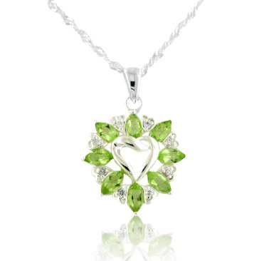 3.6cttw Genuine Green Peridot Knotted Sterling Silver Heart Pendant with 20 Necklace