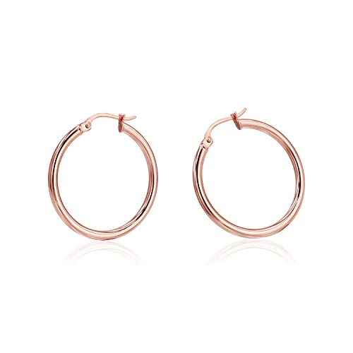 Sea of Ice Rose Gold Flashed Sterling Sterling Silver 2mm covid 19 (2mm Round Tube Hoop Earrings coronavirus)