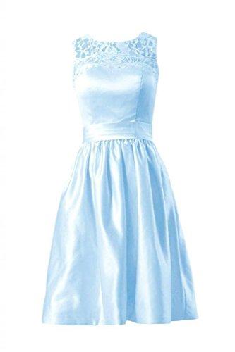 Daisyformals Courte Robe De Demoiselle D'honneur De Satin Robe De Soirée En Dentelle W / Bijou Col De Dentelle (de Bm2422a) # 40 Glace Bleue