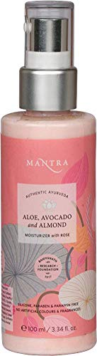 (Mantra Authentic Ayurveda Aloe, Avocado and Almond Moisturizer with Rose for All Skin Types FREE from chemicals, Silicon, Paraben, and Paraffin (100 ml / 3.34 fl oz))