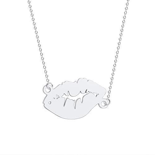 NOUMANDA Lips Kiss Pendant Necklace Simple Design Cutting Copper Metal Pendants Jewelry (Silver)