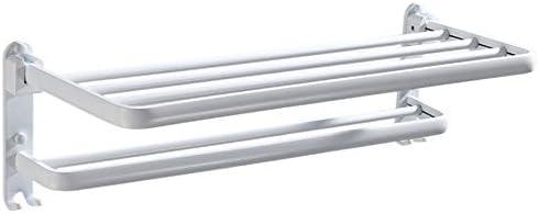 タオル掛け 折りたたみホワイト塗装アルミ浴室の棚2層壁マウント風呂シャワーラックダブルタオルバー付き防錆サニタリーアクセサリー (色 : 白, サイズ : 59cm)