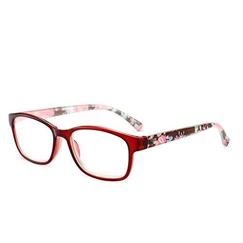 Framed Resin (Rockrok Unisex Resin Framed Reading Glasses +1.00 ~+4.00 Fashion Glasses Readers (Red, 200))